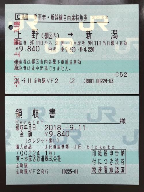上野駅から新潟駅までの乗車券・新幹線自由席特急券、領収書