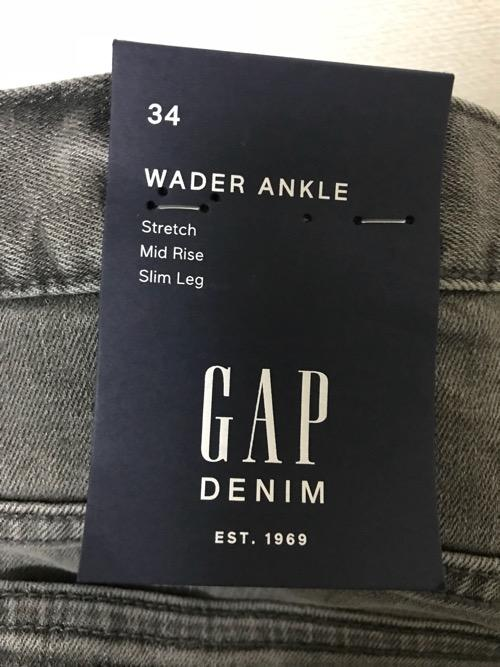 GAP DENIM WADER ANKLEの商品タグ