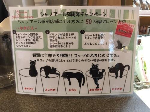 カフェベローチェで見つけたシャノアール50周年キャンペーンの広告