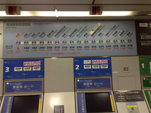 ゆりかもめ新橋駅構内に掲示されている「普通乗車券運賃表」(FARE TABLE)