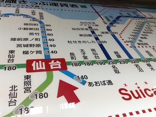 仙台駅から仙台空港アクセス線で仙台空港駅に向かう路線図と乗車料金