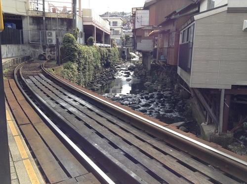 正覚寺下電停ホームと線路の下にある川