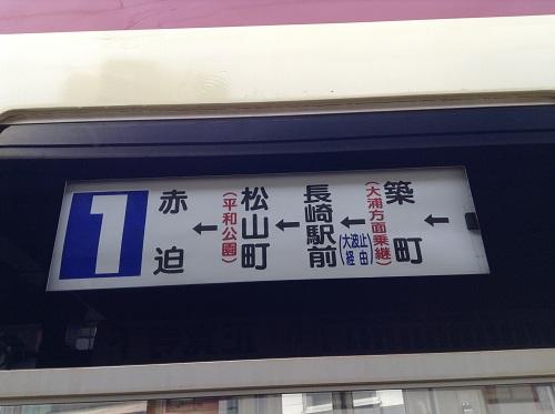 市内電車「1 赤迫 AKASAKO」(1202)の行き先表示板に記載されている内容