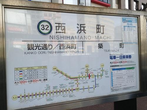 「32 西浜町 NISHIHAMANO-MACHI」と記載された看板(駅標)
