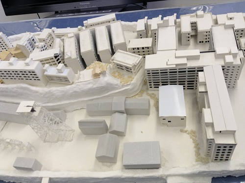 軍艦島の模型(学校の校舎がある付近)