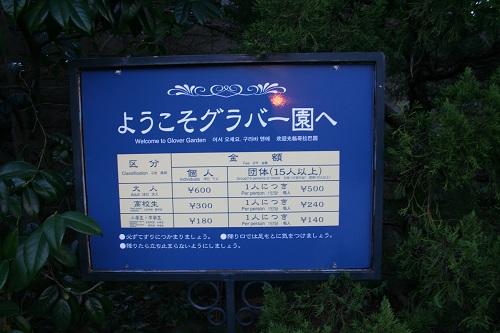 グラバー園入口の看板(料金表)