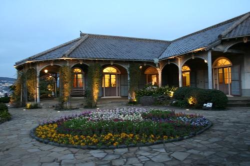 グラバー園・旧グラバー住宅と住宅前の庭園