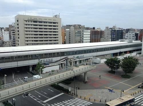横浜桜木町ワシントンホテル5階から眺めたJR桜木町駅