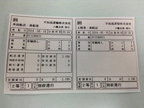 宇和島運輸フェリーの乗船券(行先:別府港行)