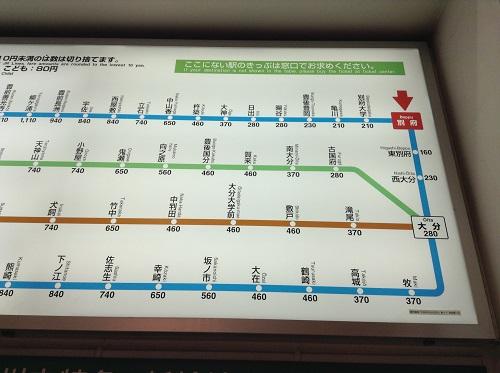 JR別府駅(大分県別府市駅前町)構内の切符売り場にある「近距離切符運賃表」(JR別府駅付近拡大)