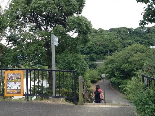 駐車場から松山市考古館(愛媛県松山市南斎院町乙67番地6)に向かうための道