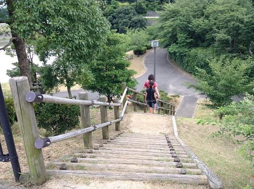 駐車場から松山市考古館(愛媛県松山市南斎院町乙67番地6)に向かうための道(階段)