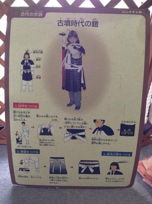 松山市考古館(愛媛県松山市南斎院町乙67番地6)体験学習コーナーにある「古代の衣装 古墳時代の鎧」の説明