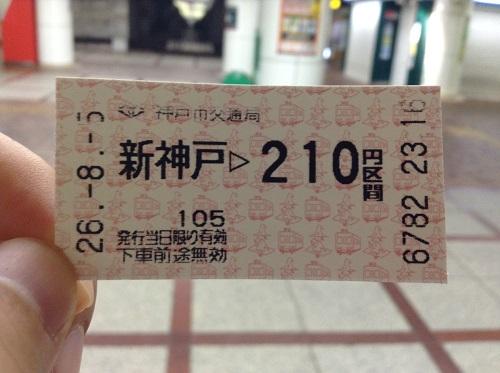 神戸市営地下鉄「新神戸駅」から210円区間の切符