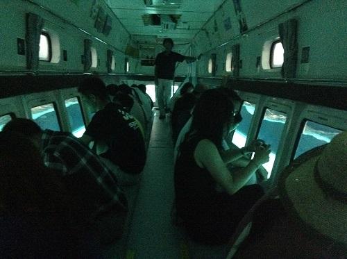 海中展望船「愛媛観光船ユメカイナ(愛南町西海観光船)」の海中展望室が半分ほど海中に沈んだ時の室内の様子