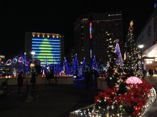 JR岡山駅前(夜)のクリスマスイルミネーション