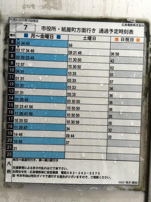 地方バス停に掲載されている「市役所・紙屋町方面行き」通過予定時刻表(平成21年11月15日改正 広島電鉄株式会社)