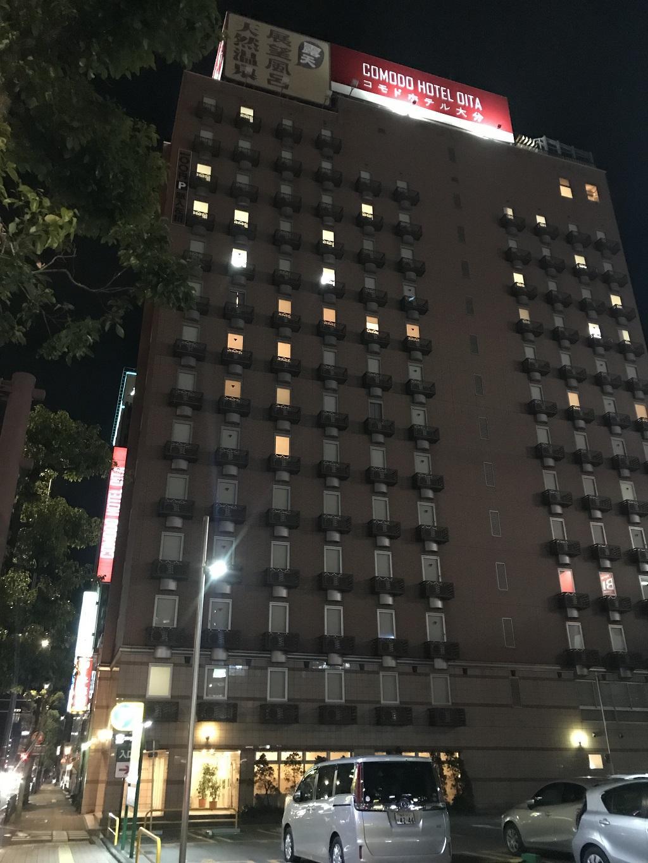 2020年2月 コモドホテル大分外観(夜の様子)