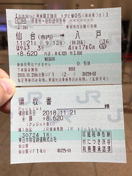 JR仙台駅二階の「えきねっと」対応の券売機で発行した仙台駅から八戸駅までの乗車券・新幹線特急券、領収書