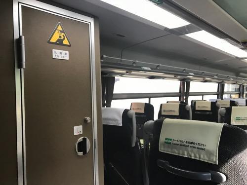 濃飛バスの飛騨古川発・新宿行の高速バス車内の化粧室(トイレ)