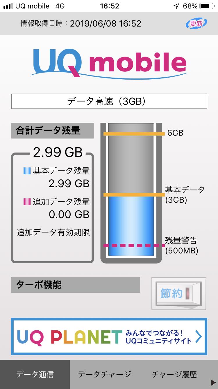 UQ mobile ポータルアプリ - データ高速(3G) - ターボ機能「節約」