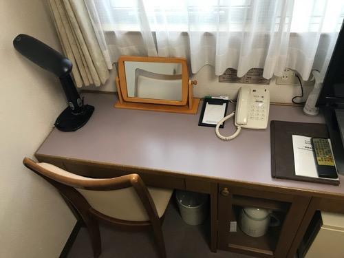 ホテルウェリィスミヨシのシングルルームの机