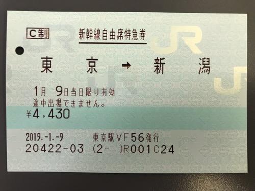 東京駅から新潟駅までの新幹線自由席特急券