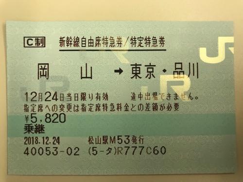 岡山駅から東京駅までの新幹線自由席特急券