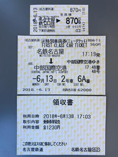 名鉄名古屋駅から中部国際空港駅までの切符(乗車券・特別車両券(ミューチケット))と領収書