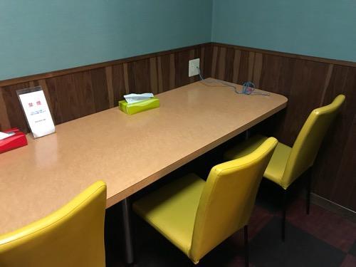 ホテルリバーサイドの長机と椅子