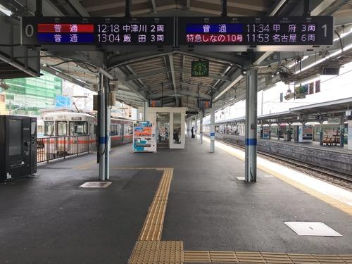 JR松本駅の0番線ホームと1番線ホーム