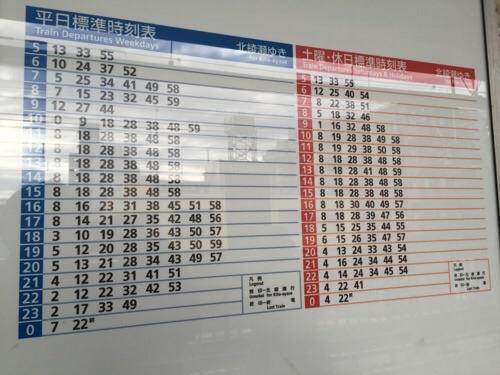 東京メトロ綾瀬駅0番線ホーム-北綾瀬ゆきの時刻表