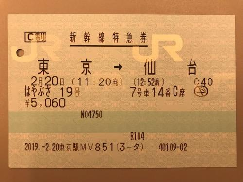 東京駅から仙台駅までの新幹線の指定席特急券