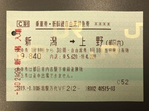 新潟駅から上野駅までの乗車券・新幹線自由席特急券