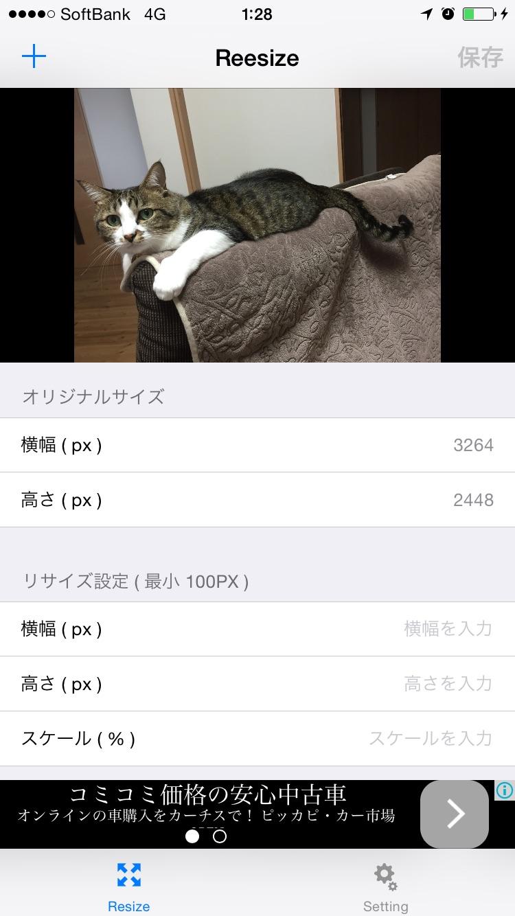 iPhoneアプリReesizeの画面キャプチャ(モデル写真は飼い猫のゆきおくん)