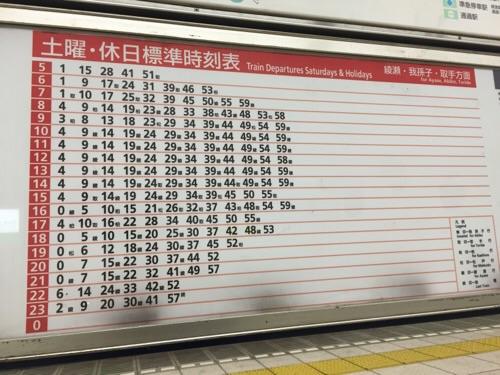 東京メトロ千代田線代々木公園駅の土曜・休日標準時刻表