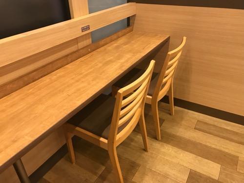 ロッテリア 桶川駅店 改札口内店舗のカウンターテーブル・椅子