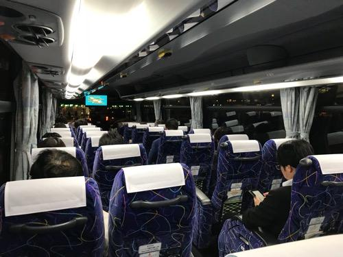 北海道中央バスの新千歳空港から札幌都心ゆきのバス車内の様子