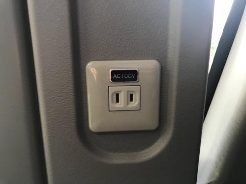 濃飛バスの飛騨古川発・新宿行の高速バス車内の充電可能なコンセント