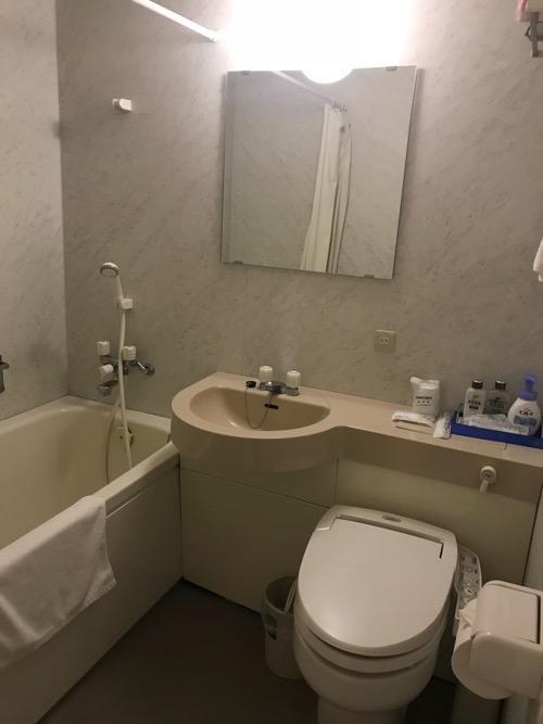 飛騨古川スペランツァホテルのユニットバス(トイレ、洗面台、浴槽)