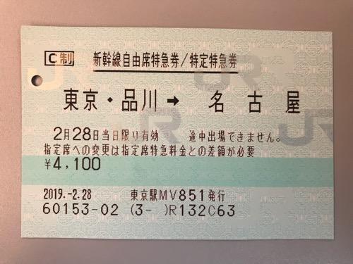 東京駅から名古屋駅までの新幹線自由席特急券