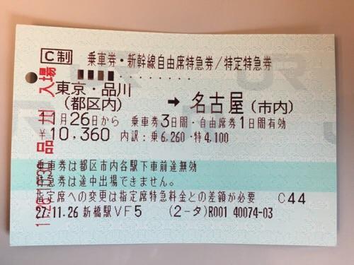 新橋駅の自動販売機で購入した「東京・品川(都区内)から名古屋(市内)の乗車券・新幹線自由席特急券」