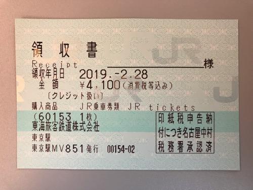 東京駅から名古屋駅までの新幹線自由席特急券の領収書