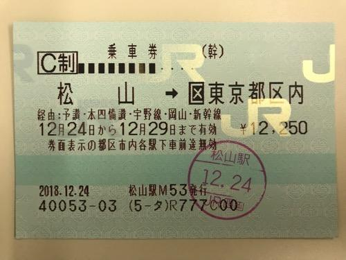 松山駅から東京駅までの乗車券