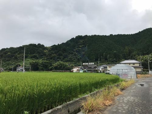 湯之谷温泉に至る道路と周辺の風景(田んぼ、山)