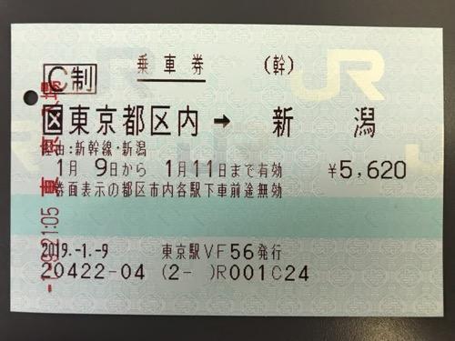 東京駅から新潟駅までの乗車券