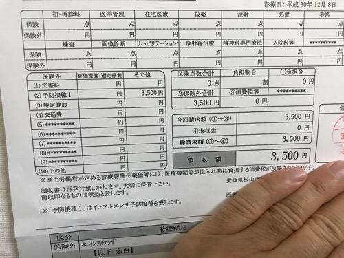 インフルエンザの予防接種の診療費請求書 兼 領収書