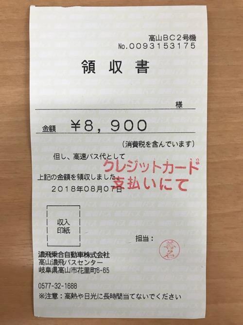 濃飛バスの飛騨古川発・新宿行の高速バス「ひとりだけシート」の領収書