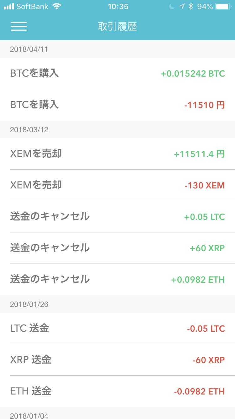 仮想通貨の取引履歴画面(Coincheckでの取引履歴 2018年8月14日10時35分現在)