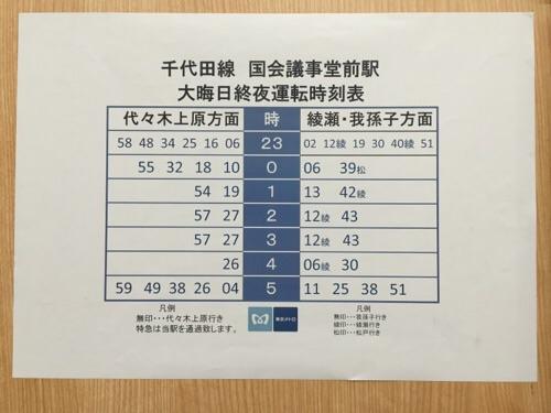 東京メトロ千代田線・国会議事堂前駅のホームにある2015年年末の大晦日終夜運転時刻表